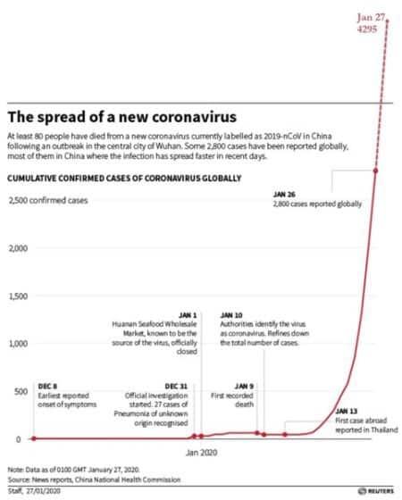 Image result for coronavirus exponential plot